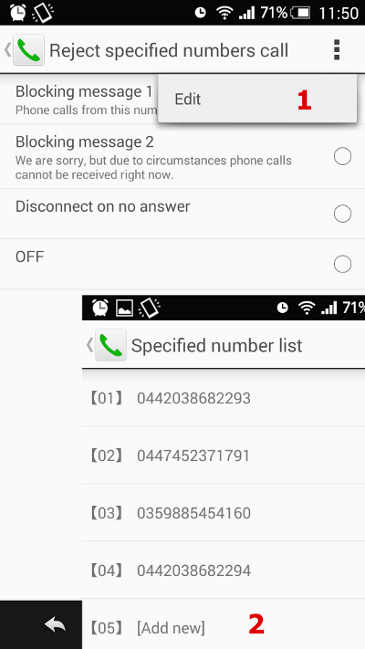 How to block calls from specified numbers on a Sharp phone