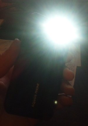 Flashlight mode on your Sharp smartphone